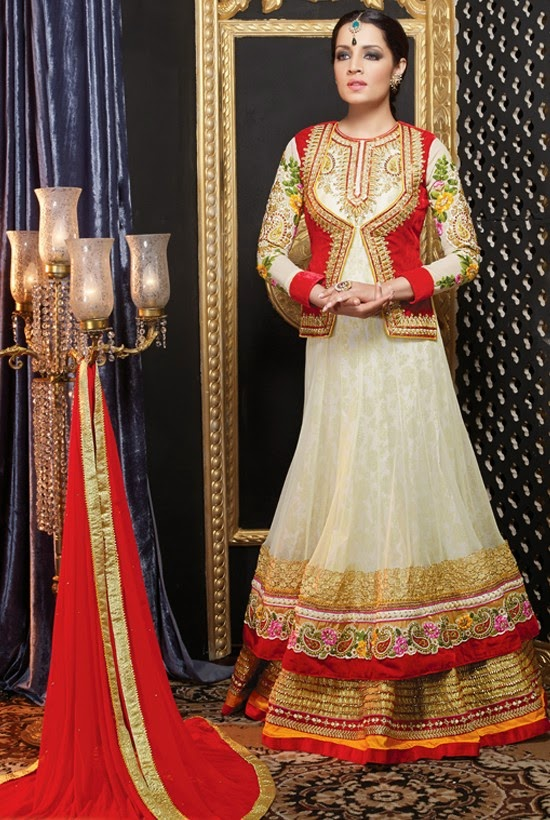 Net Cream Designer Embroidery Anarkali Suit with Dupatta