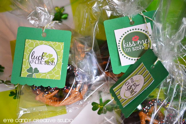 luck o the irish, me pot o gold, kiss me i'm irish, st pattys day toppers, st pattys day tags