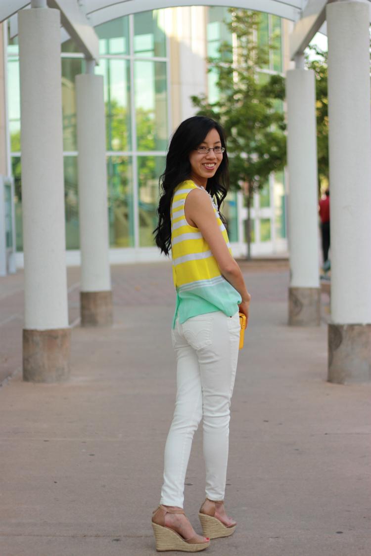 equipment stripe bright white denim daisy necklace
