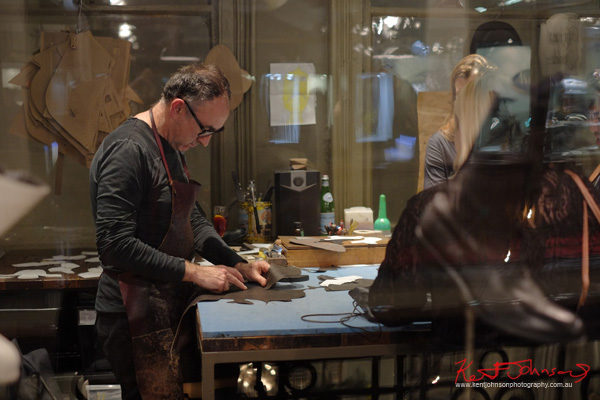 Andrew McDonald working the leather, The Strand Arcade, Evening with our Designers. Photography by Kent Johnson.