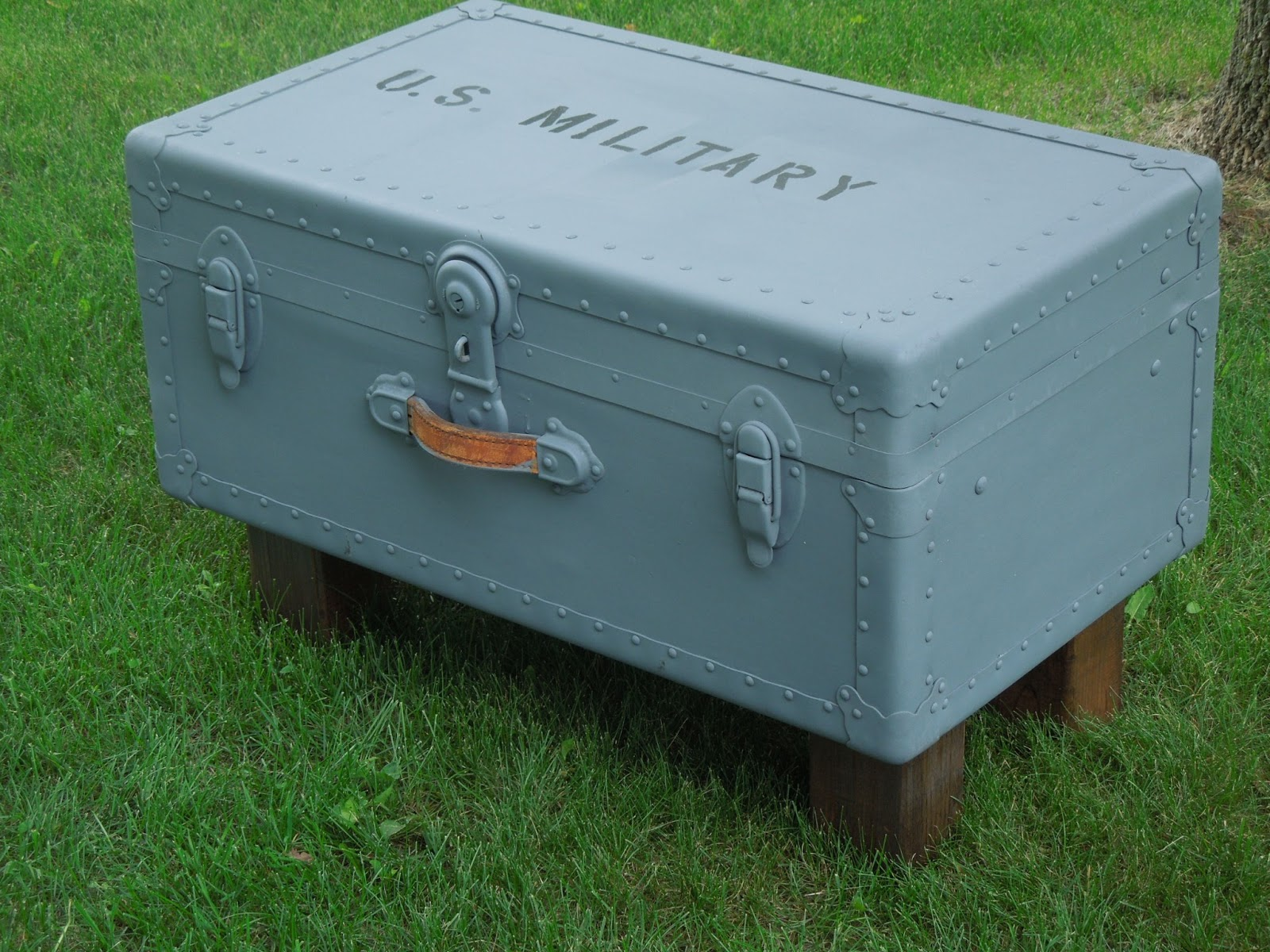 This Is NOT A Military Trunk, Just Repurposed. It Does Open For Storage.  The Handle Is Missing On One Side.