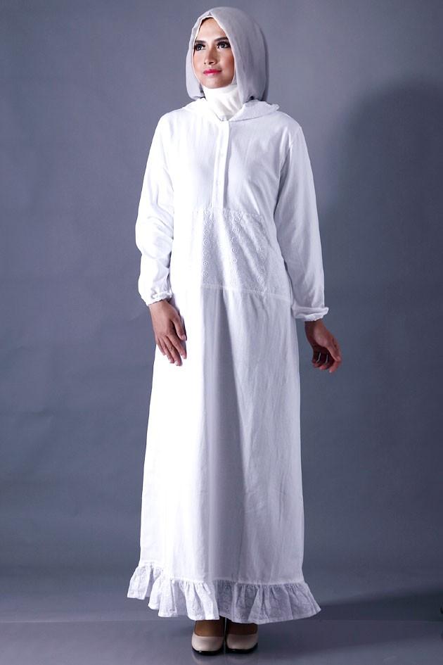 Model Gamis Putih Untuk Lebaran