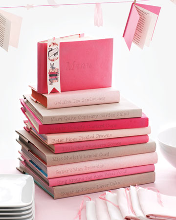 chic lit menues menu is listed on spines of paper covered books