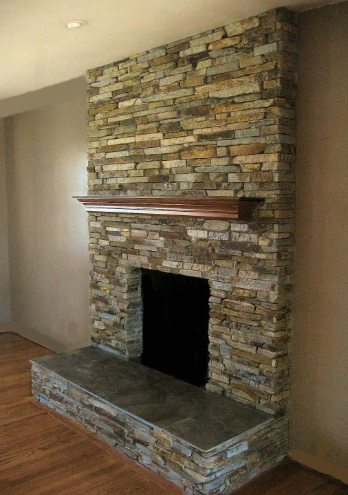 Focal point styling moving tips long distance home searching - Stacked stone fireplace designs ...