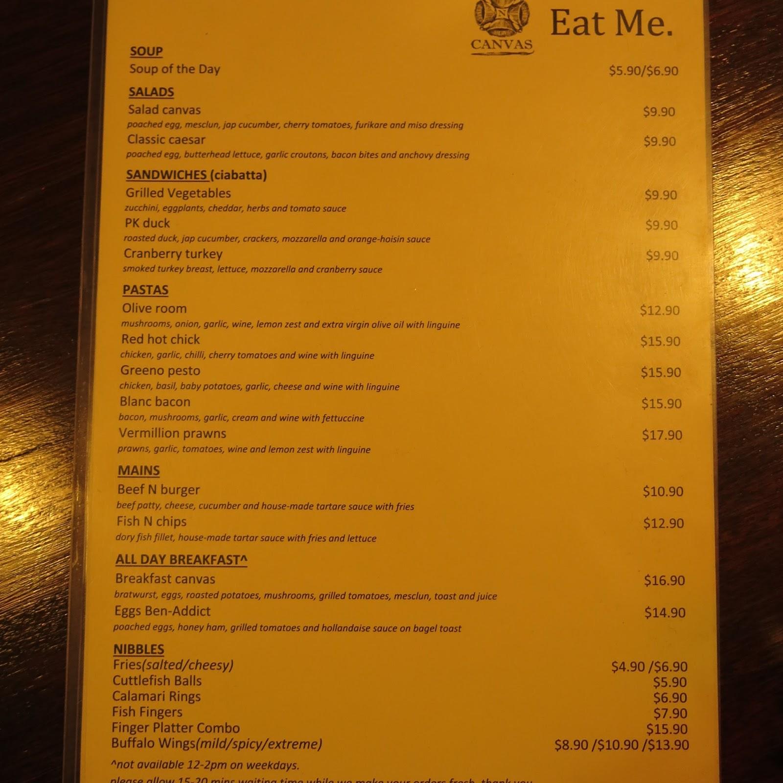 The cup singapore menu