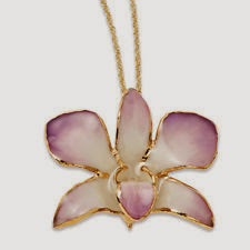 Pastel Lilac and Cream Orchid Flower 24k Gold Gilded Pendant Authentic Necklace on 18 Inch Chain