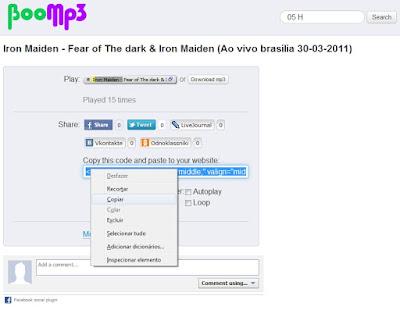 Embed da música - BoomMP3
