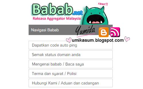 Cara semak status domain blog di laman ping babab.net, panduan semakan status domain di laman babab, cara letak kod auto ping babab.net dalam blog, laman ping artikel terbaik 2015, ping artikel blog, cara tingkatkan trafik blog dengan laman ping, gambar laman ping babab.net