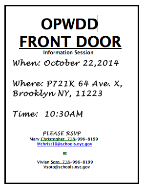 opwdd front doorAramarkNYU October 2014