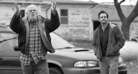 Bruce Dern and Will Forte on the road in Alexander Payne's NEBRASKA