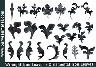 Ornamental iron leaves and wrough iron leaves hardware for gates parts and fences manufacturers exporters in  india, usa, uk, America, UAE Dubai, australia, italy