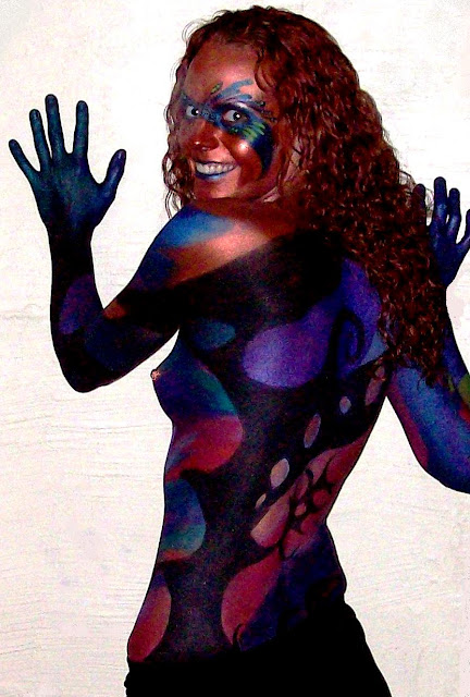 body paint gallery-style disposable mask