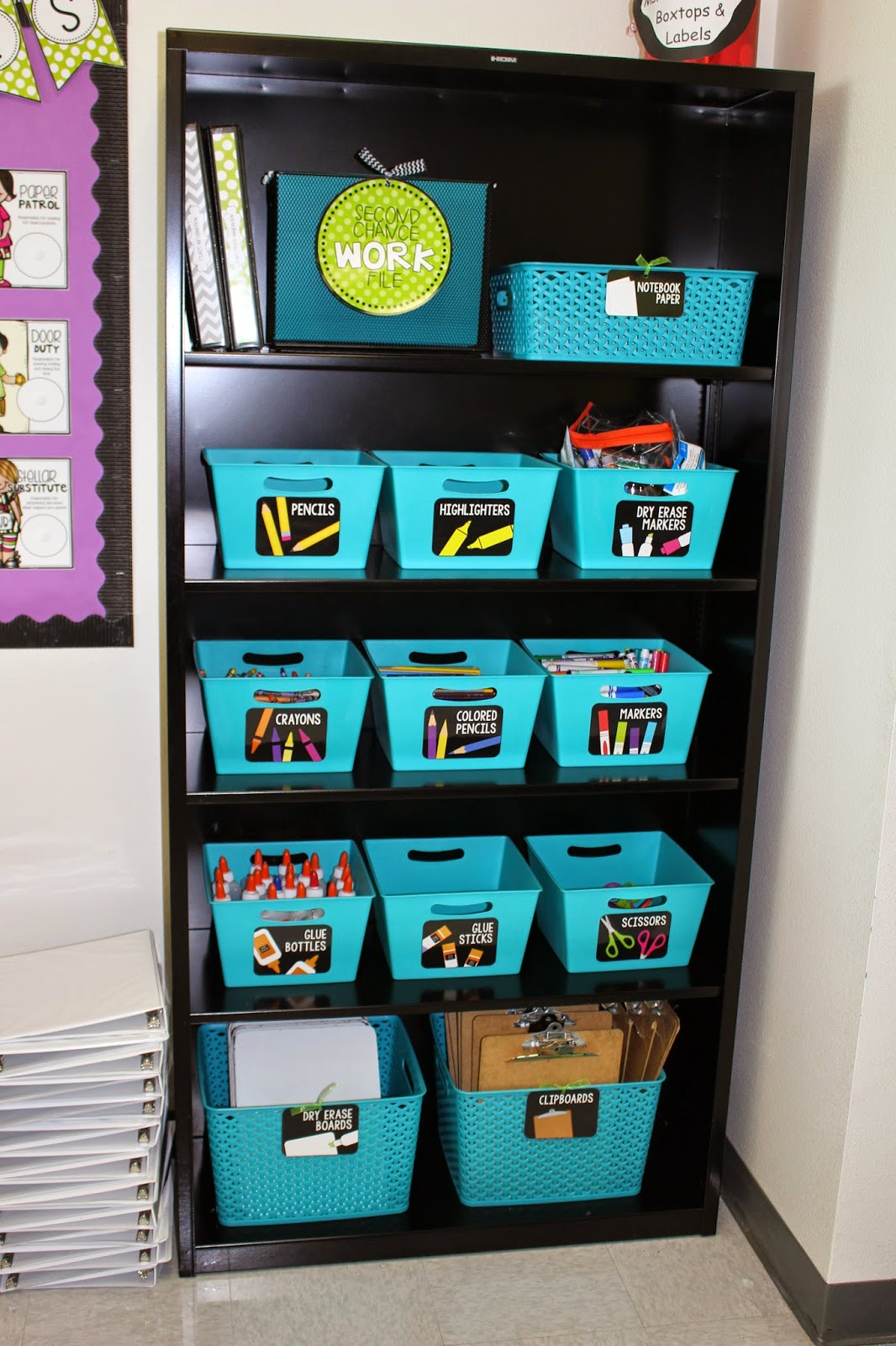 Classroom Storage Ideas ~ The adorable mess black and bright back to school resources