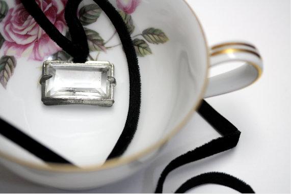 Vintage Black Velvet and Prism Pendant Necklace #vintage #necklace #velvet