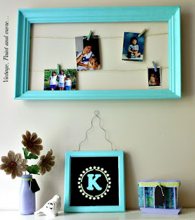 Vintage, Paint and more... string photo frame and dorm decor diy'd from thrifted items