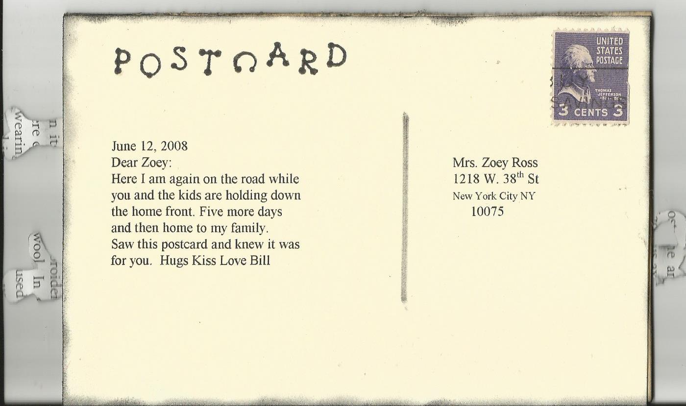 postcard back template .