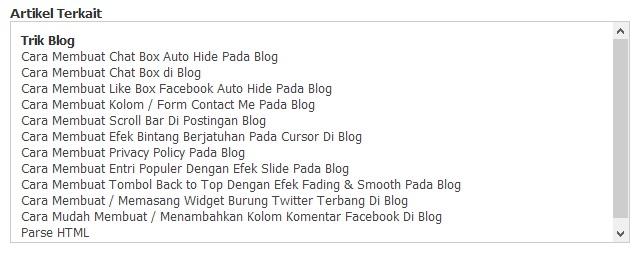 Cara Membuat Artikel Terkait Dibawah Postingan Blog