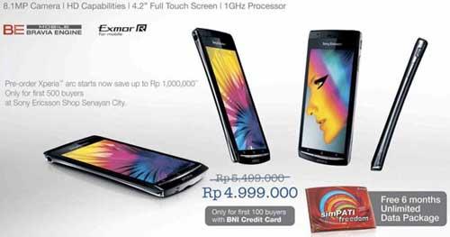 Harga Sony Ericsson Xperia Arc di Indonesia