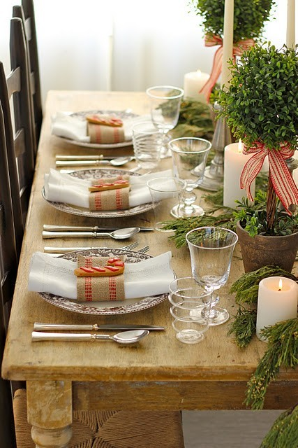 This Country Style Table Setting Is Given Some Added Warmth. Texture Is  Noticed Here Through The White Napkins Tied Off With A Burlap Banding  Napkin Holder ...