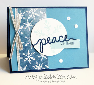 Stampin' Up! Holly Jolly Greetings: Peace on Earth Christmas Card #stampinup 2015 Holiday Catalog www.juliedavison.com