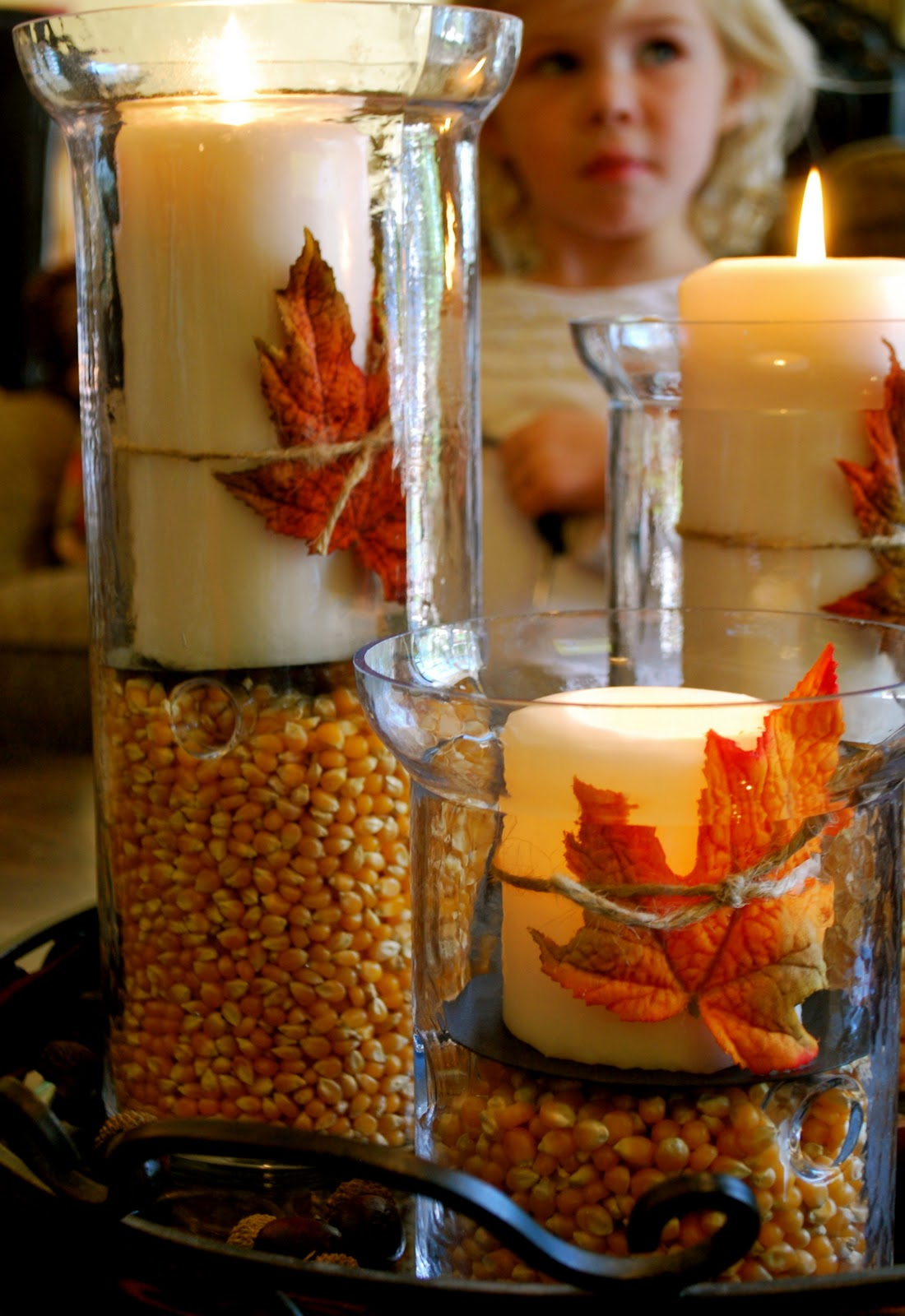 Thanksgiving fall decorations hurricane vases amanda