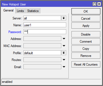 winbox mikrotik - hotspot users settings
