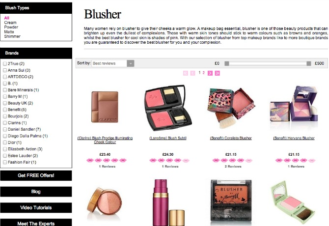 different blushers on mybeautycompare