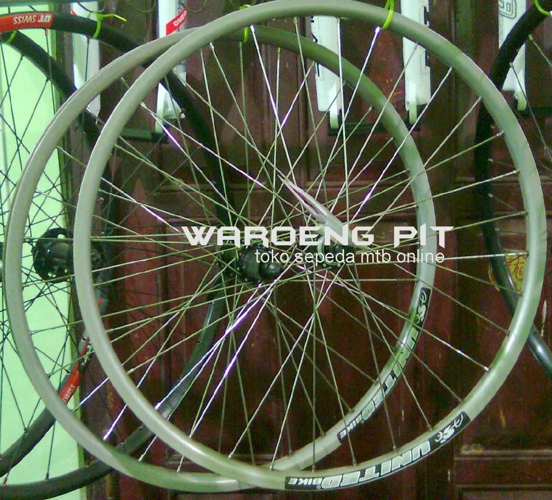 Jual wheel set United Silver Pelek Full lengkap Roda lengkap Rotor sepeda gunung mtb mountain bike dan hub set shimano