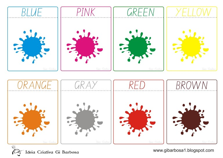 Extremamente Flash Cards Cores Inglês   Ideia Criativa - Gi Barbosa Educação  LH84