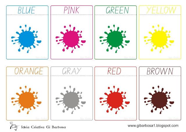 Flash cards cores em inglÊs