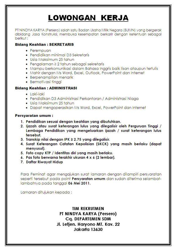 PT Nindya Karya (Persero) - S1, D3 - Lowongan Kerja