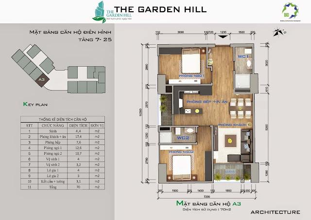 Căn A3 tầng 7 đến 25 Garden Hill - 99 Trần Bình