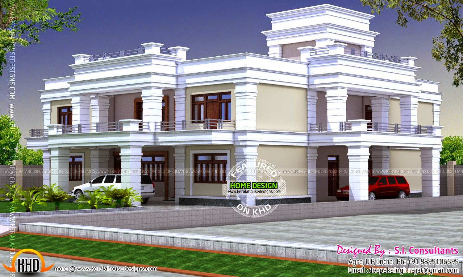 Decorative flat roof house kerala home design and floor for Flat roof home plans