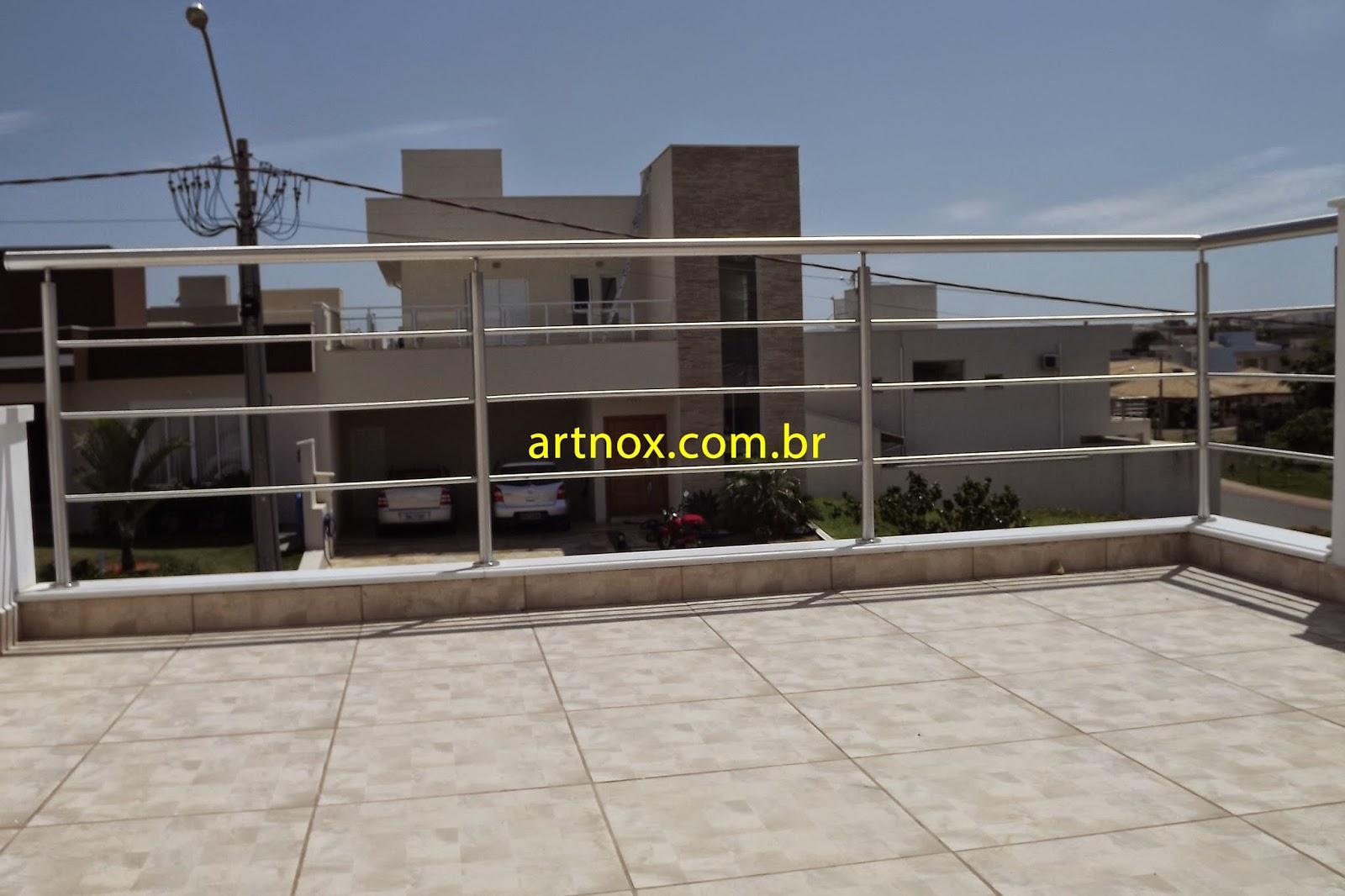 #B0AE1B  Guarda corpo em aço inox 304 escovado 3 tubinhos Guarulhos São Paulo 4376 Janela Aluminio Guarulhos