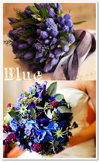 blå brudbukett, somrig brudbukett