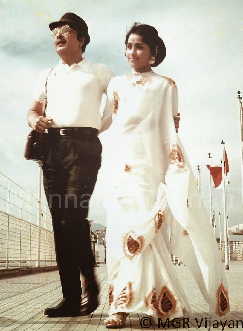 Actress Chandrakala with MGR in 'Ulagam Sutrum Valiban' Movie (1973)