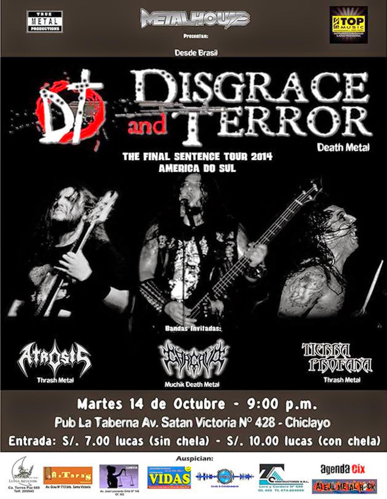 DISGRACE AND TERROR (Death Metal de Brasil) en Chiclayo-Perú