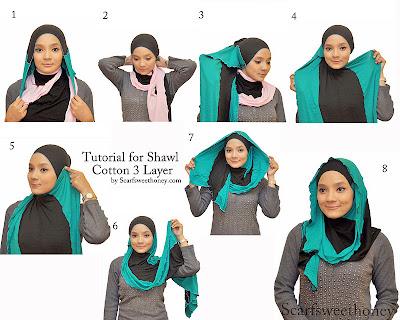 Cara Memakai Jilbab Shawl Cotton 3 Layer Style