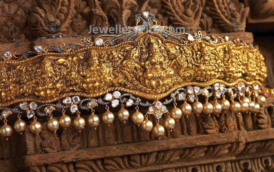 Traditional AstaLakshmi vaddanam with pearls and diamonds