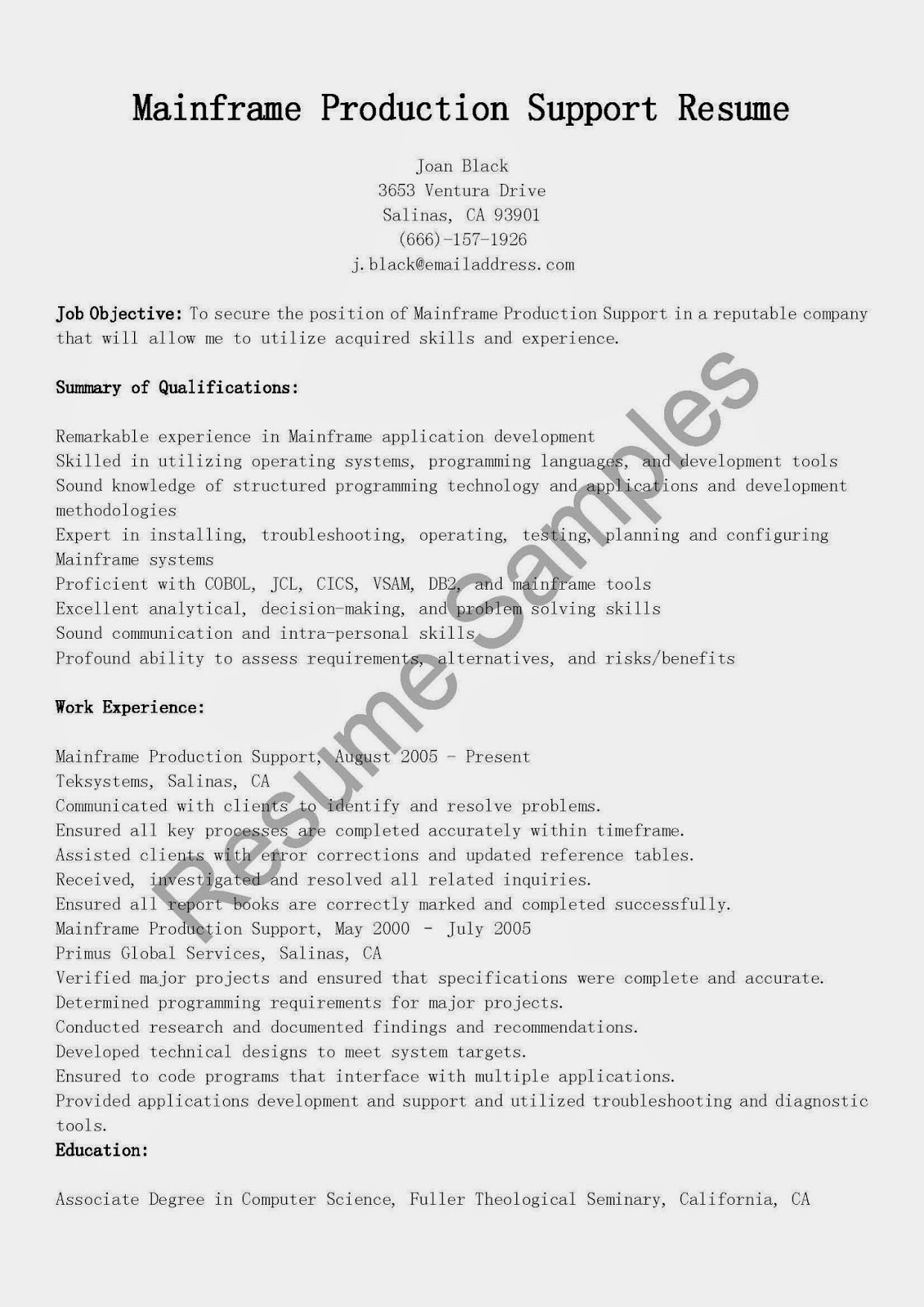 resume samples  mainframe production support resume sample