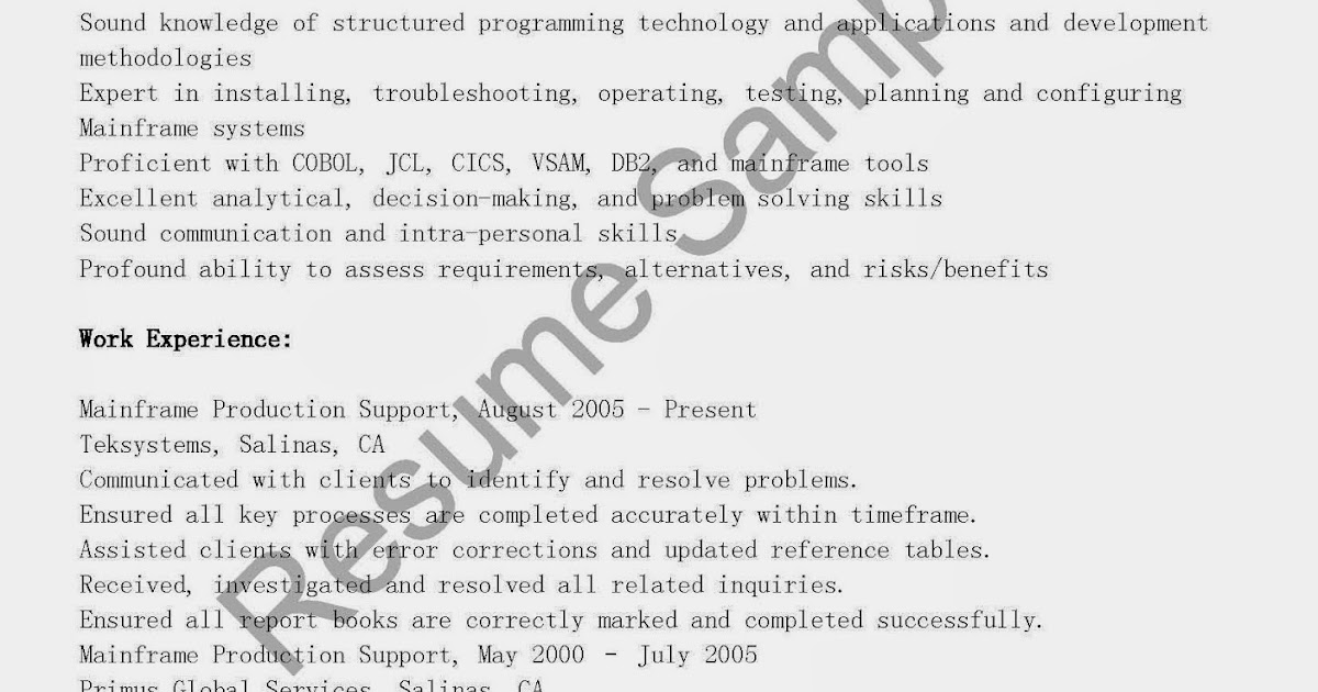 Great Sample Resume: Mainframe Production Support Resume Sample