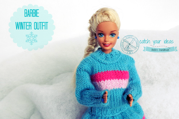 barbie-w-spódniczce-i-sweterku-na-drutach, barbie-sweterek, barbie-sweter-na-drutach, ubranka-dla-barbie, knit-barbie-clothes, knit-barbie-pulover