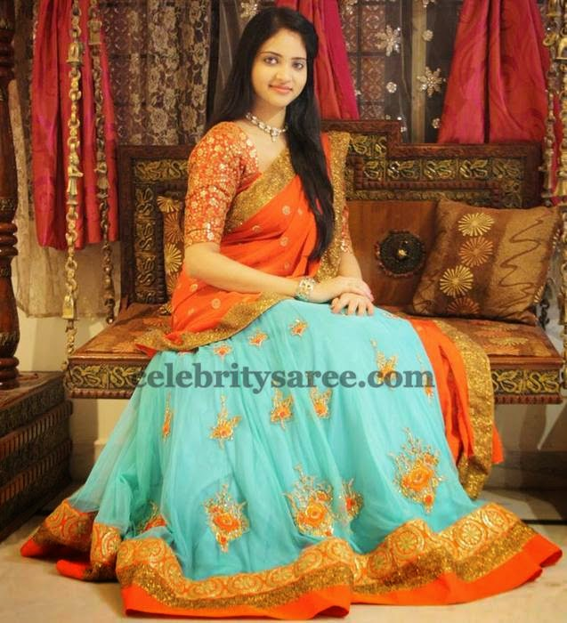 Pastel Blue and Orange Half Saree