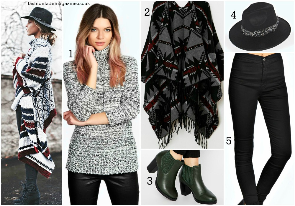 aztec poncho cardigan scarf + grey roll neck knit speckled jumper + black skinny jeans + green ankle boots + fedora hat + winter fall outfit 2015 + fashion bloggers + outfits trend