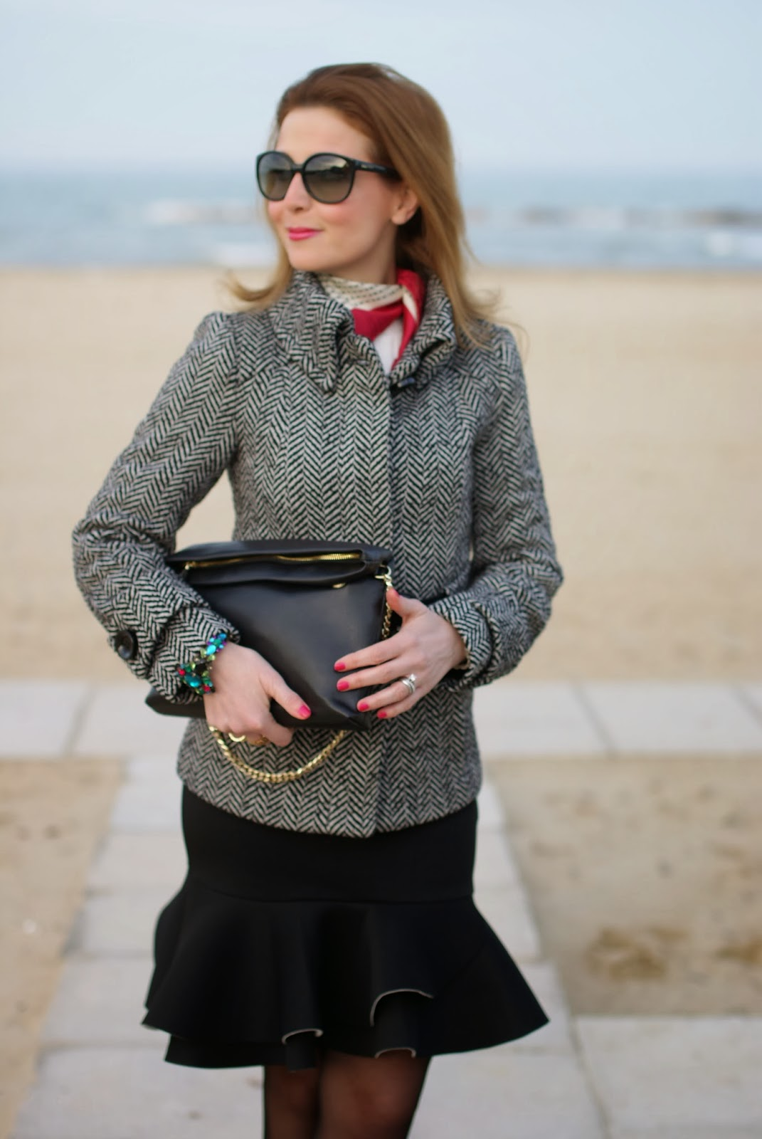 peplum hem skirt, Zara twill jacket, Mercantia bracelet, Fashion and Cookies, fashion blogger