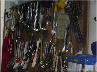 kitchen utensils in a community service kitchen