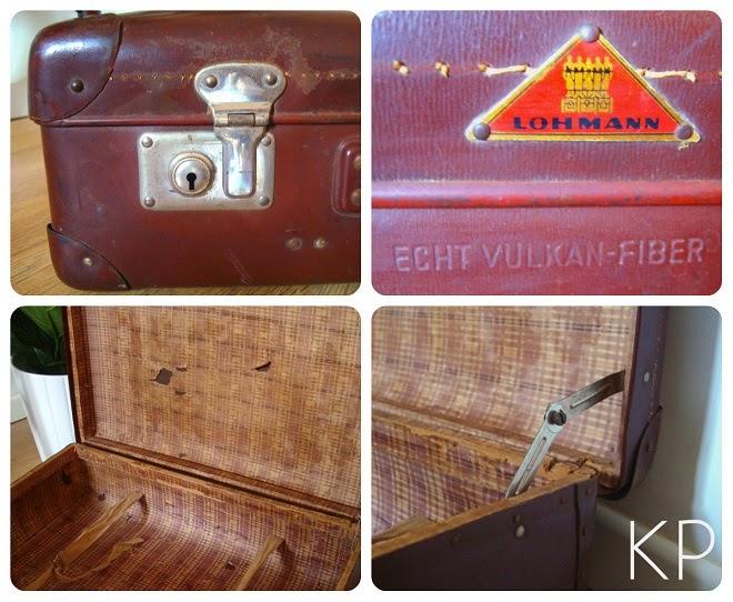 Maleta antigua vintage con pegatinas de viajes y hoteles
