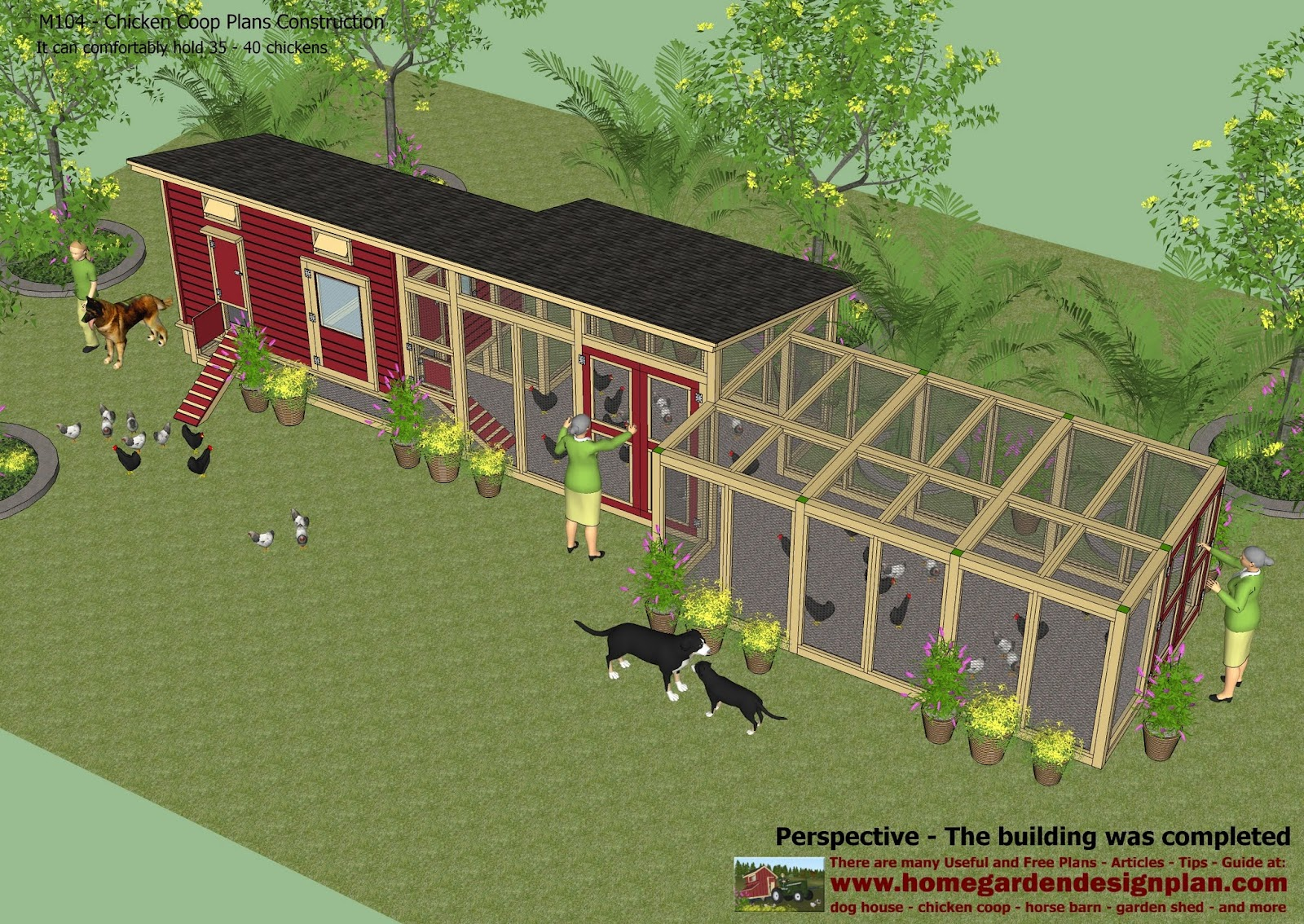 Home garden plans m104 chicken coop plans construction chicken coop design how to build a for Hen house design plans