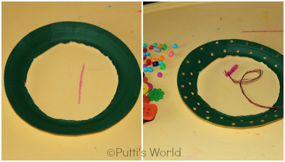 Paper Plate Wreath Kids Sewing Christmas