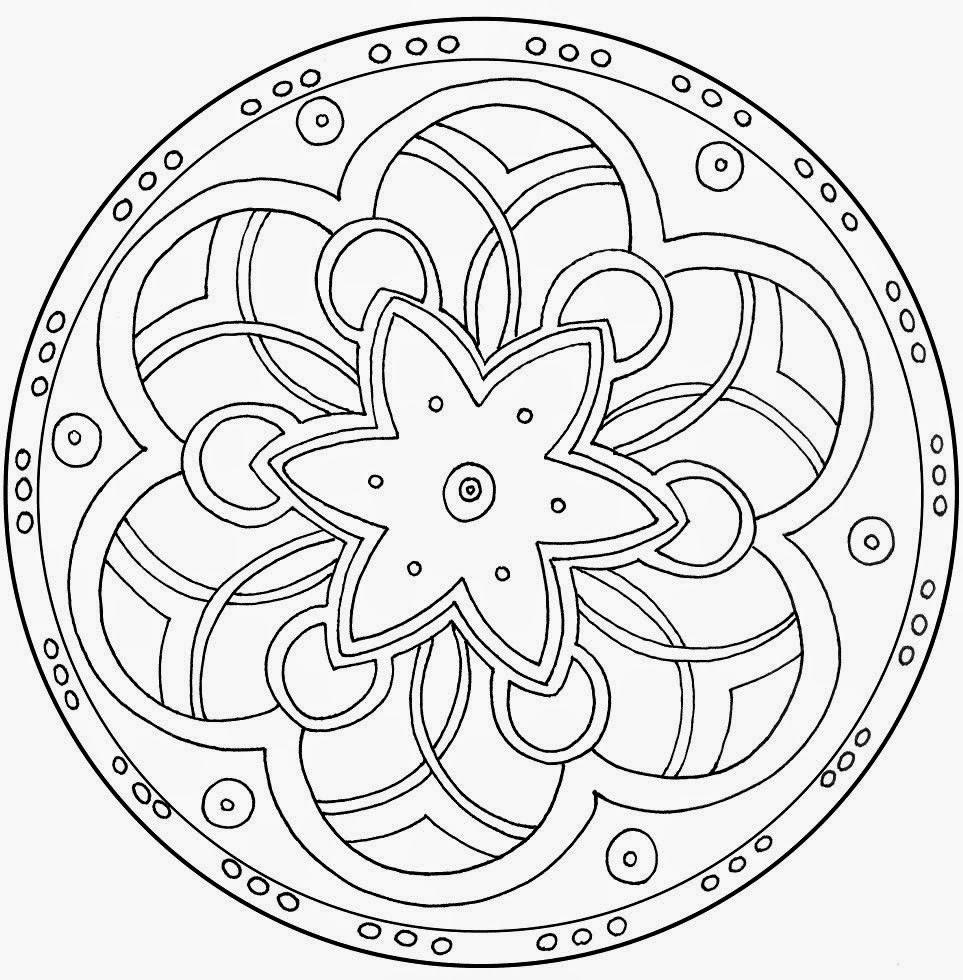 Mewarnai line Lingkaran Mandala Easy Mandala Coloring
